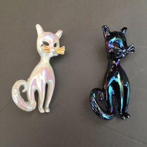 Vintage Shiny Iridescent Enamel Cat Scatter Pins